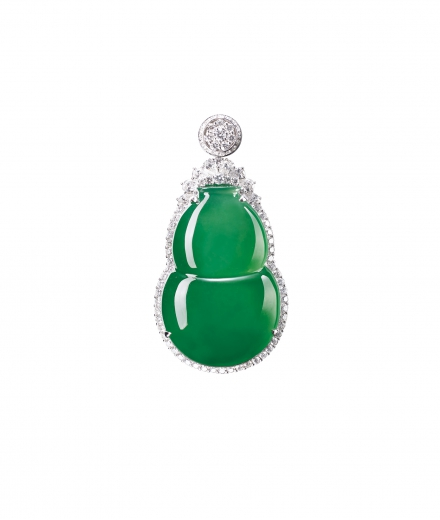 A FINE GLASSY JADEITE 'GOURD' AND DIAMOND PENDANT