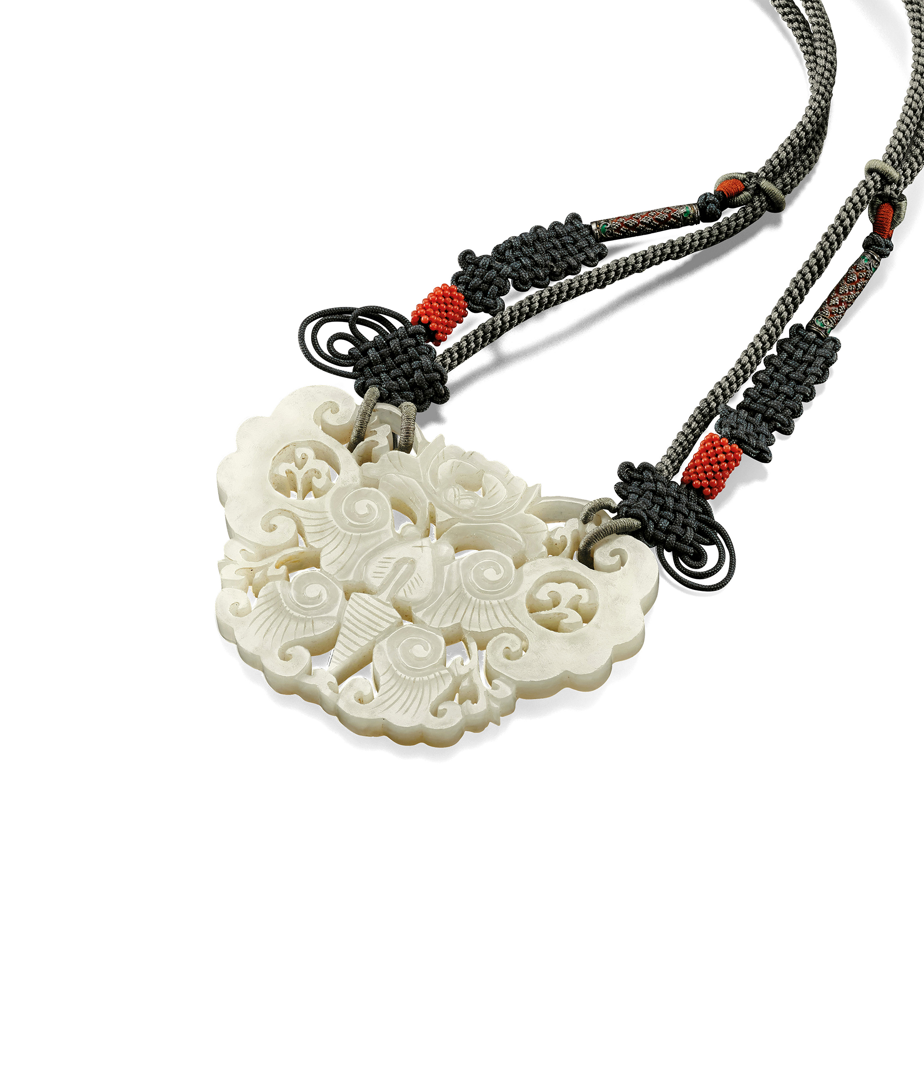 A WHITE JADE OPENWORK 'BUTTERFLY' PENDANT