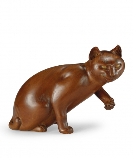 A CARVED WOOD OKIMONO OF A CAT