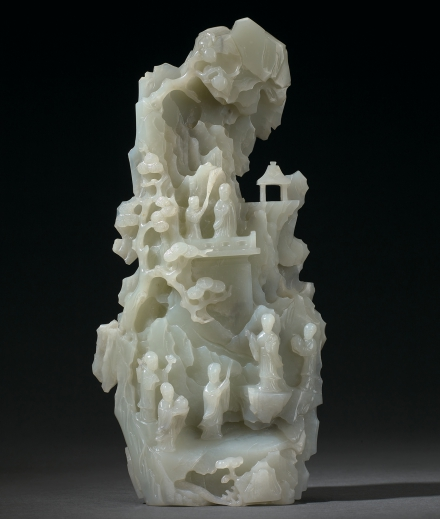AN EXCEPTIONAL AND MASSIVE WHITE JADE 'IMMORTAL AND LANDSCAPE' MOUNTAIN BOULDER