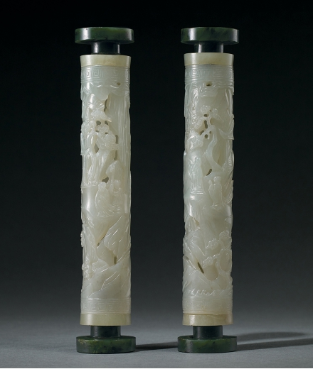 A FINE PAIR OF PALE CELADON AND SPINACH-GREEN JADE 'FIGURE AND LANDSCAPE' PARFUMIERS