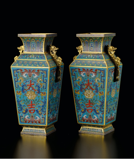 AN EXCEPTIONAL AND RARE PAIR OF BRONZE CLOISONNÉ ENAMEL 'BAT AND LOTUS' VASES