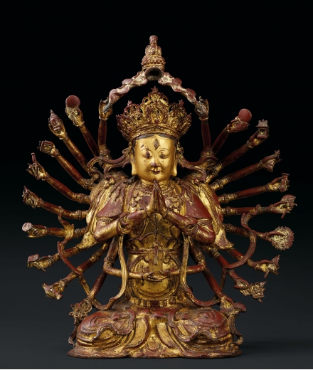 AN EXCEPTIONAL AND LARGE GILT-LACQUERED BRONZE FIGURE OF A 24-ARM GUANYIN
