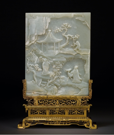 AN EXCEPTIONAL AND FINE PALE CELADON JADE 'IMMORTALS AND LANDSCAPE' TABLE SCREEN WITH ORIGINAL GILT-BRONZE STAND
